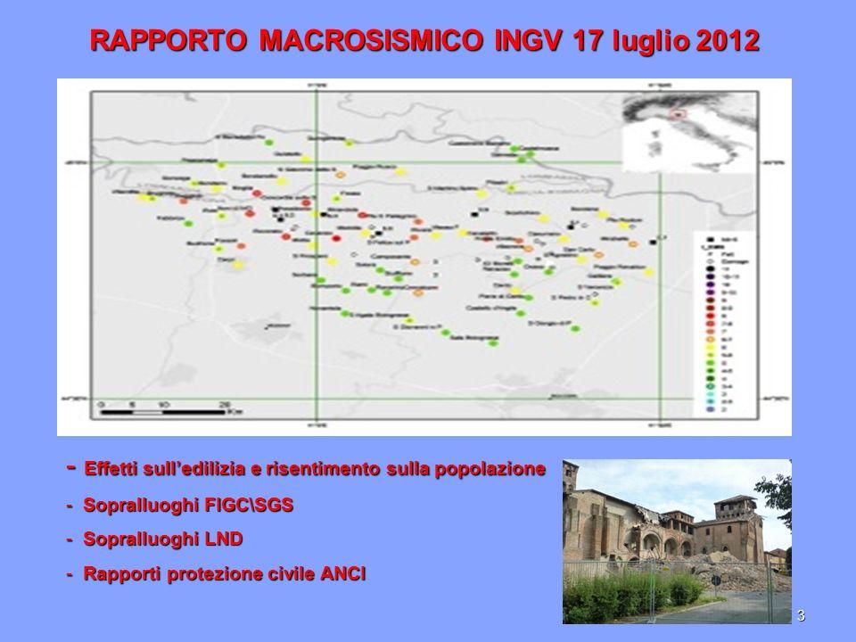 3 RAPPORTO MACROSISMICO INGV 17 luglio 2012 - E- E- E- Effetti sulledilizia e risentimento sulla popolazione - S opralluoghi FIGC\SGS opralluoghi LND - R apporti protezione civile ANCI