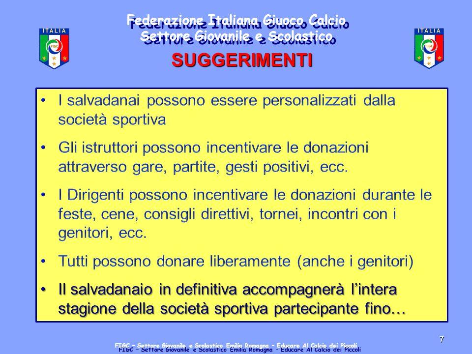 7 Federazione Italiana Giuoco Calcio Settore Giovanile e Scolastico FIGC – Settore Giovanile e Scolastico Emilia Romagna – Educare Al Calcio dei Piccoli SUGGERIMENTI