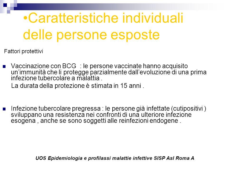 Caratteristiche individuali delle persone esposte Fattori protettivi Vaccinazione con BCG : le persone vaccinate hanno acquisito unimmunità che li pro