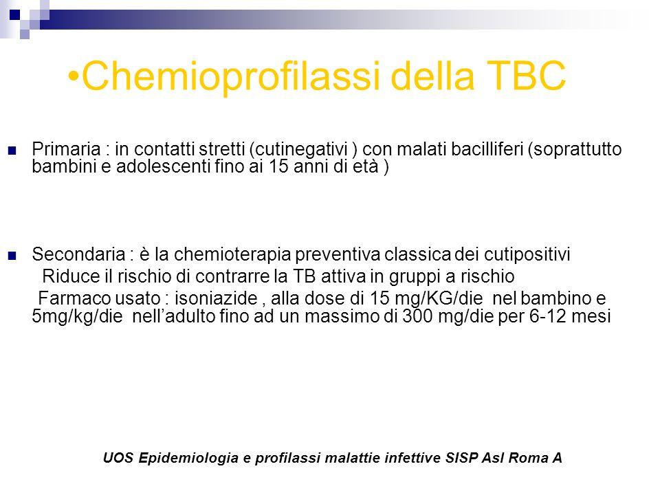 Chemioprofilassi della TBC Primaria : in contatti stretti (cutinegativi ) con malati bacilliferi (soprattutto bambini e adolescenti fino ai 15 anni di