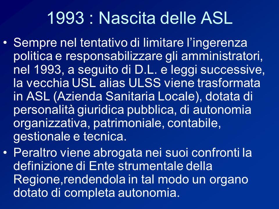 1993 : Nascita delle ASL Sempre nel tentativo di limitare lingerenza politica e responsabilizzare gli amministratori, nel 1993, a seguito di D.L.