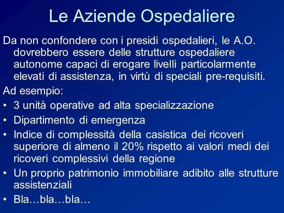 Le Aziende Ospedaliere Da non confondere con i presidi ospedalieri, le A.O.