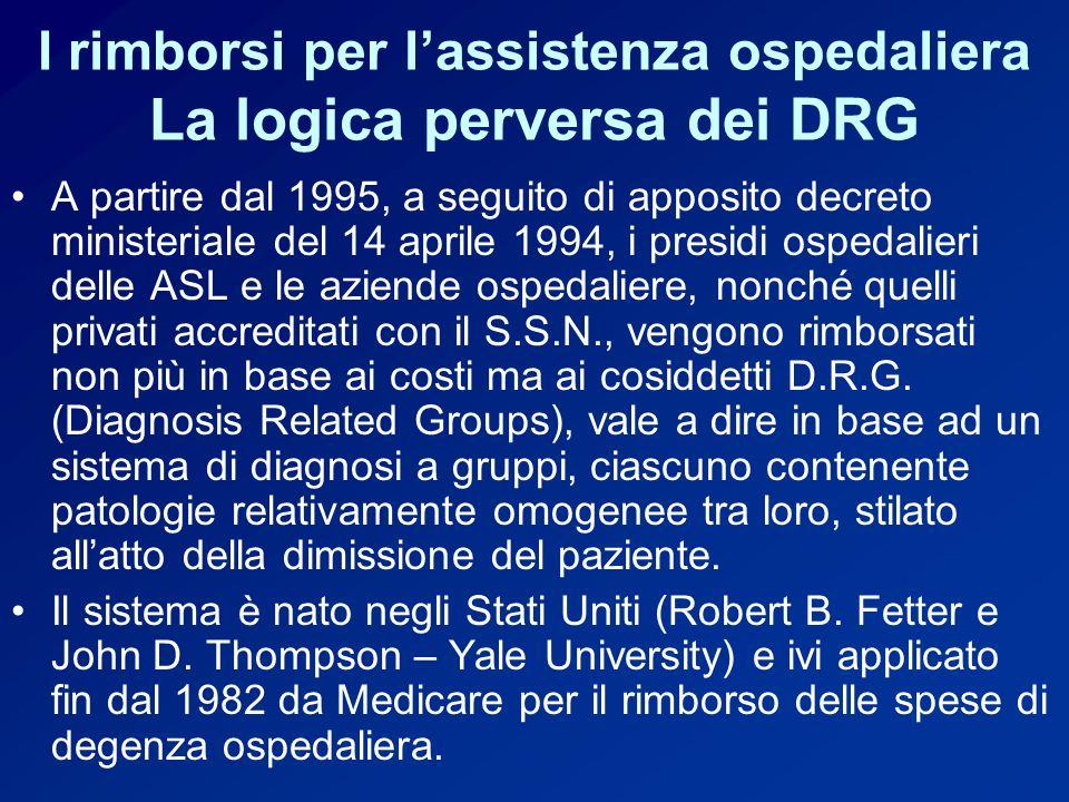 I rimborsi per lassistenza ospedaliera La logica perversa dei DRG A partire dal 1995, a seguito di apposito decreto ministeriale del 14 aprile 1994, i presidi ospedalieri delle ASL e le aziende ospedaliere, nonché quelli privati accreditati con il S.S.N., vengono rimborsati non più in base ai costi ma ai cosiddetti D.R.G.