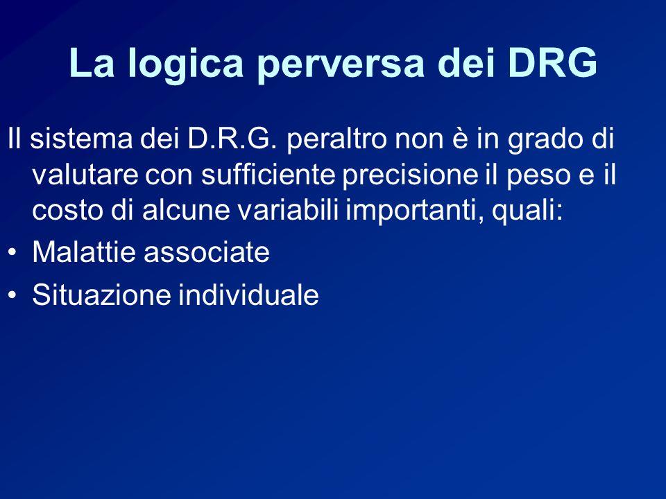 La logica perversa dei DRG Il sistema dei D.R.G.