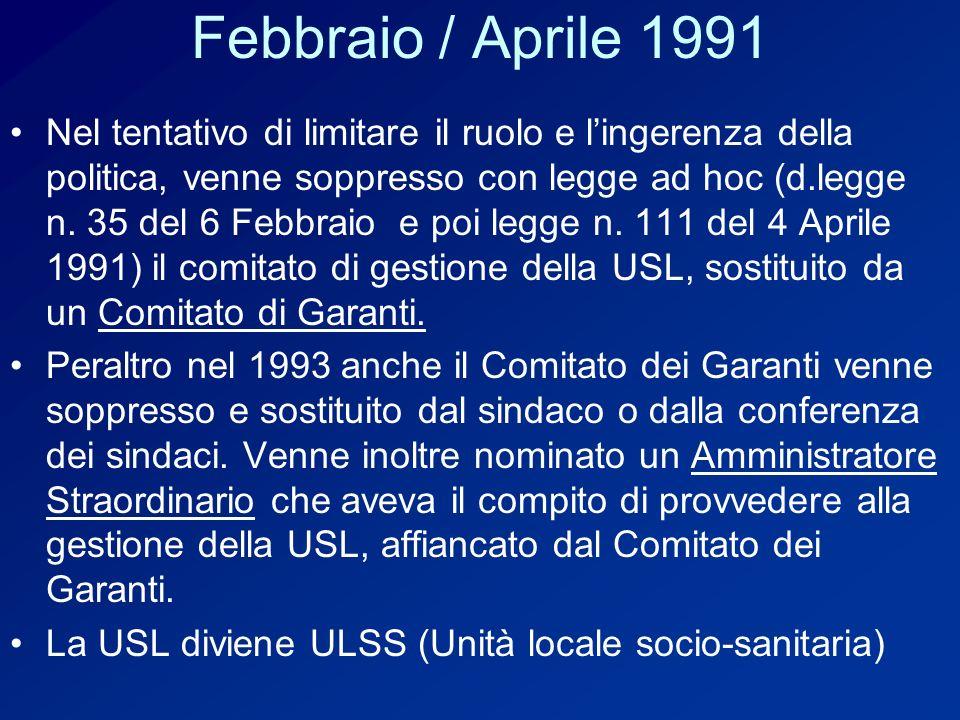 Febbraio / Aprile 1991 Nel tentativo di limitare il ruolo e lingerenza della politica, venne soppresso con legge ad hoc (d.legge n.