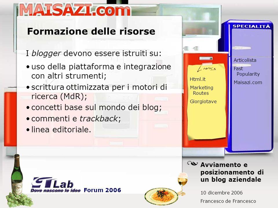 Promozione esterna Commenti su altri blog I commenti sono back-link, che se ben tematizzati possono aiutare molto il posizionamento.