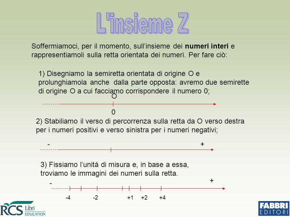 Osserviamo che: i numeri interi sono costituiti da un segno (+ o -) e da un numero naturale; il segno + dei numeri naturali positivi si può anche sottintendere; la parte numerica senza il segno prende il numero di modulo o valore assoluto e si indica nel seguente modo: (leggi valore assoluto di +5 o di -5) Ed è ovviamente: i numeri aventi tutti lo stesso segno si dicono concordi, i numeri con segno fra loro diverso si dicono discordi: - 4, - 2 e - 1 sono concordi; + 1, + 2 e + 4 sono concordi; - 4 e + 1; + 2 e - 8 sono discordi.