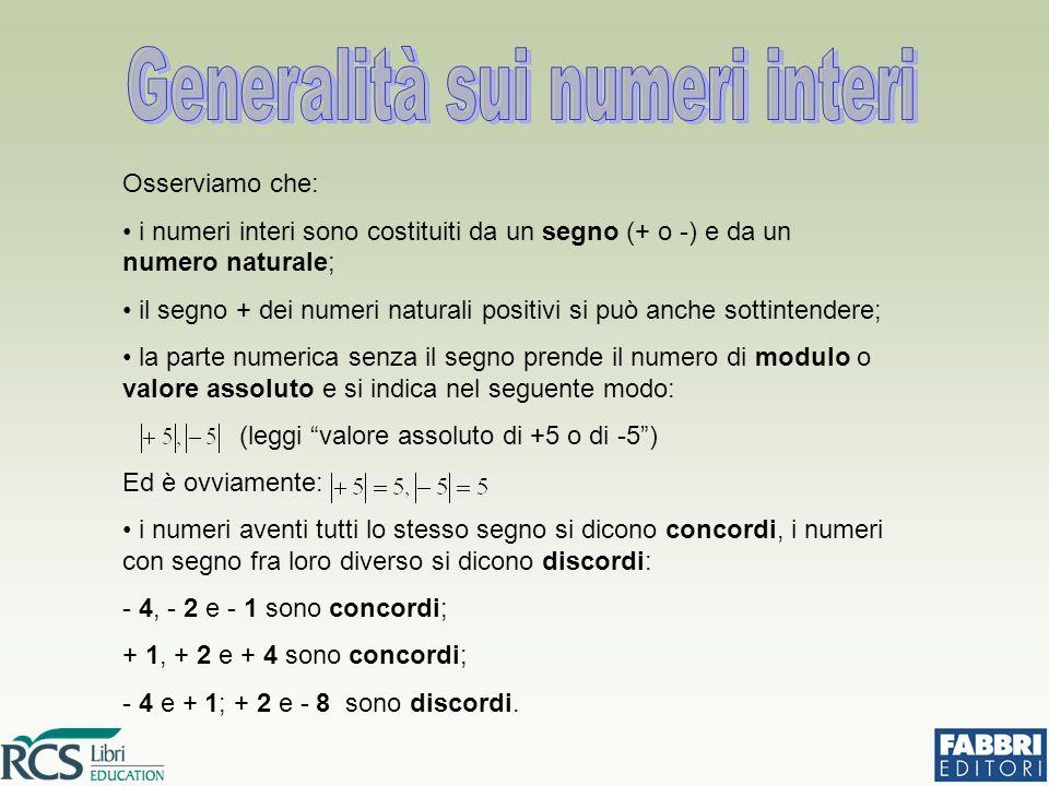 Osserviamo che: i numeri interi sono costituiti da un segno (+ o -) e da un numero naturale; il segno + dei numeri naturali positivi si può anche sott