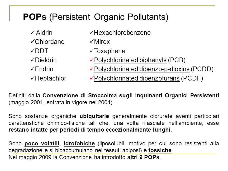 POPs (Persistent Organic Pollutants) Definiti dalla Convenzione di Stoccolma sugli Inquinanti Organici Persistenti (maggio 2001, entrata in vigore nel