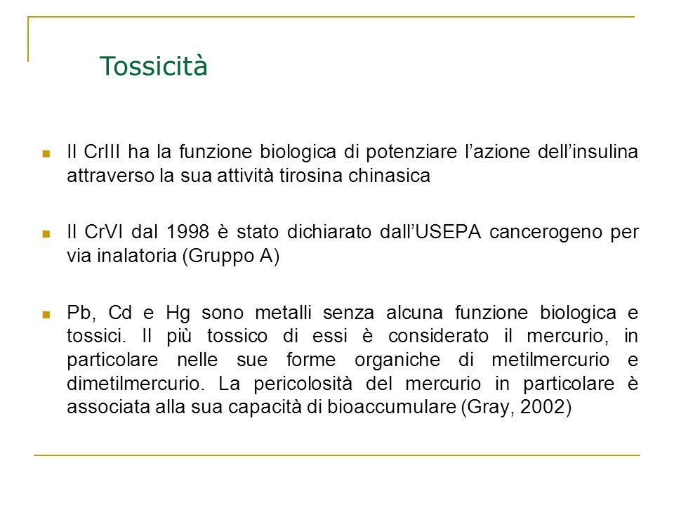 Il CrIII ha la funzione biologica di potenziare lazione dellinsulina attraverso la sua attività tirosina chinasica Il CrVI dal 1998 è stato dichiarato