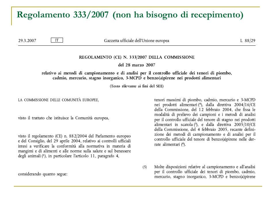 Regolamento 333/2007 (non ha bisogno di recepimento)