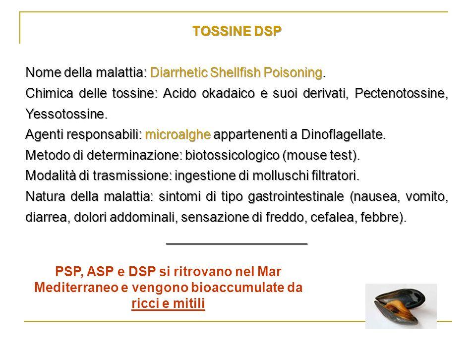 TOSSINE DSP Nome della malattia: Diarrhetic Shellfish Poisoning. Chimica delle tossine: Acido okadaico e suoi derivati, Pectenotossine, Yessotossine.