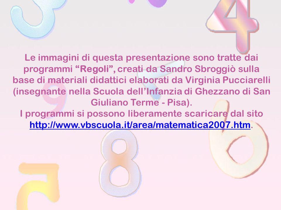 Le immagini di questa presentazione sono tratte dai programmi Regoli, creati da Sandro Sbroggiò sulla base di materiali didattici elaborati da Virgini