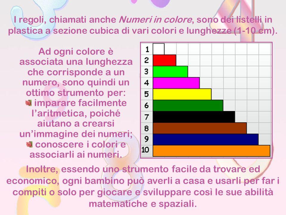 I regoli, chiamati anche Numeri in colore, sono dei listelli in plastica a sezione cubica di vari colori e lunghezze (1-10 cm). Ad ogni colore è assoc