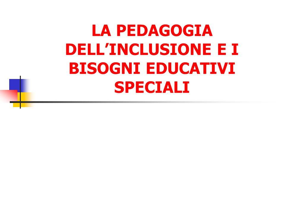 I BISOGNI EDUCATIVI SPECIALI Il concetto di bisogno educativo speciale si estende al di là di quelli che sono inclusi nelle categorie di disabilità, per coprire quegli alunni che vanno male a scuola per una varietà di altre ragioni che sono note nel loro impedire un progresso ottimale (Unesco, 1997)