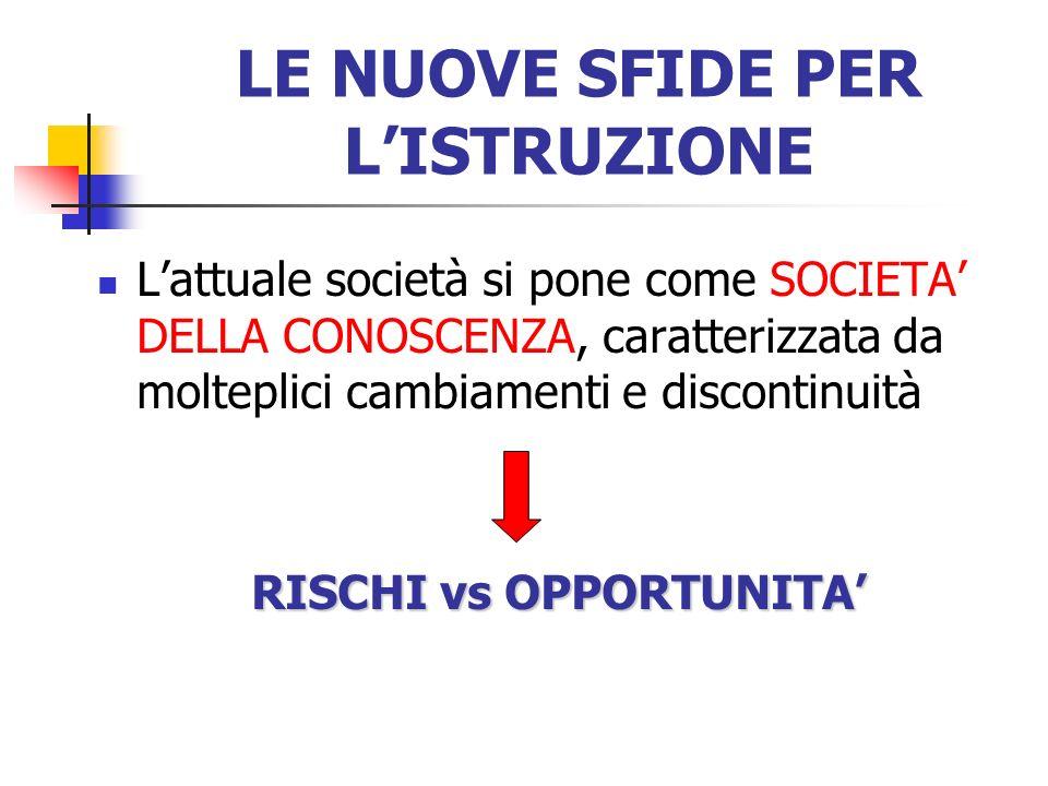 LE NUOVE SFIDE PER LISTRUZIONE Lattuale società si pone come SOCIETA DELLA CONOSCENZA, caratterizzata da molteplici cambiamenti e discontinuità RISCHI