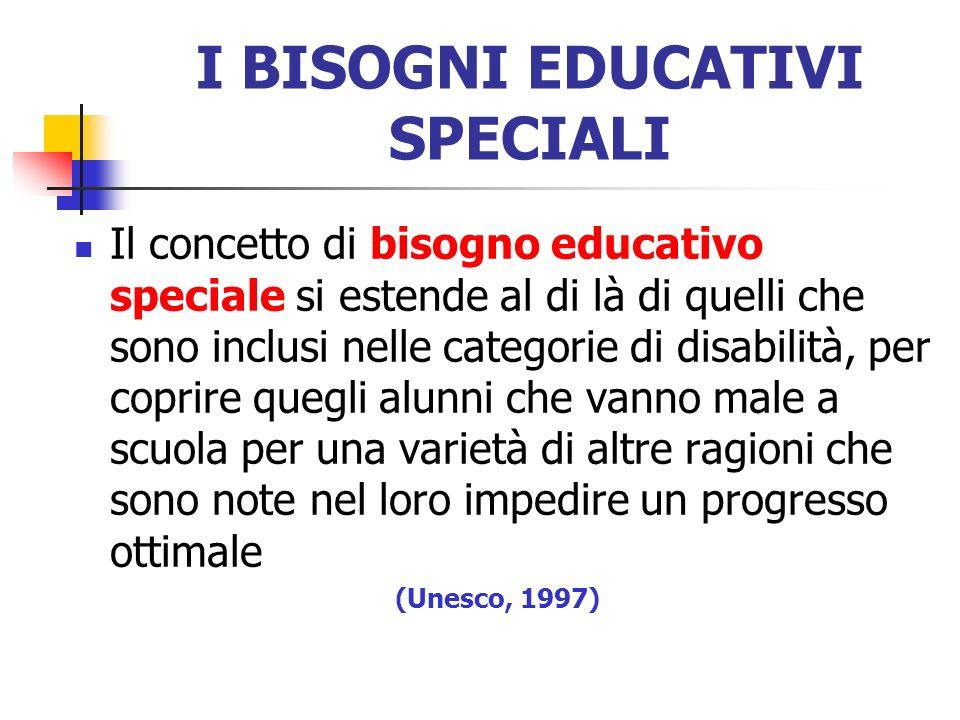 I BISOGNI EDUCATIVI SPECIALI Il concetto di bisogno educativo speciale si estende al di là di quelli che sono inclusi nelle categorie di disabilità, p