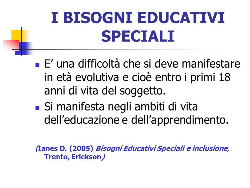 I BISOGNI EDUCATIVI SPECIALI E una difficoltà che si deve manifestare in età evolutiva e cioè entro i primi 18 anni di vita del soggetto. Si manifesta