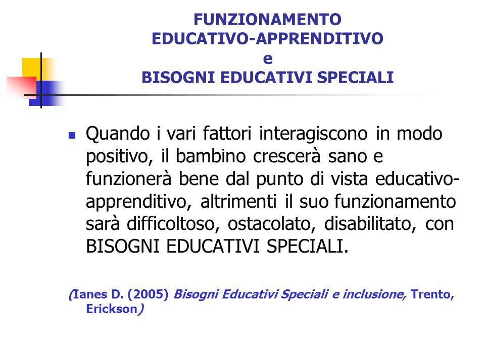 FUNZIONAMENTO EDUCATIVO-APPRENDITIVO e BISOGNI EDUCATIVI SPECIALI Quando i vari fattori interagiscono in modo positivo, il bambino crescerà sano e fun