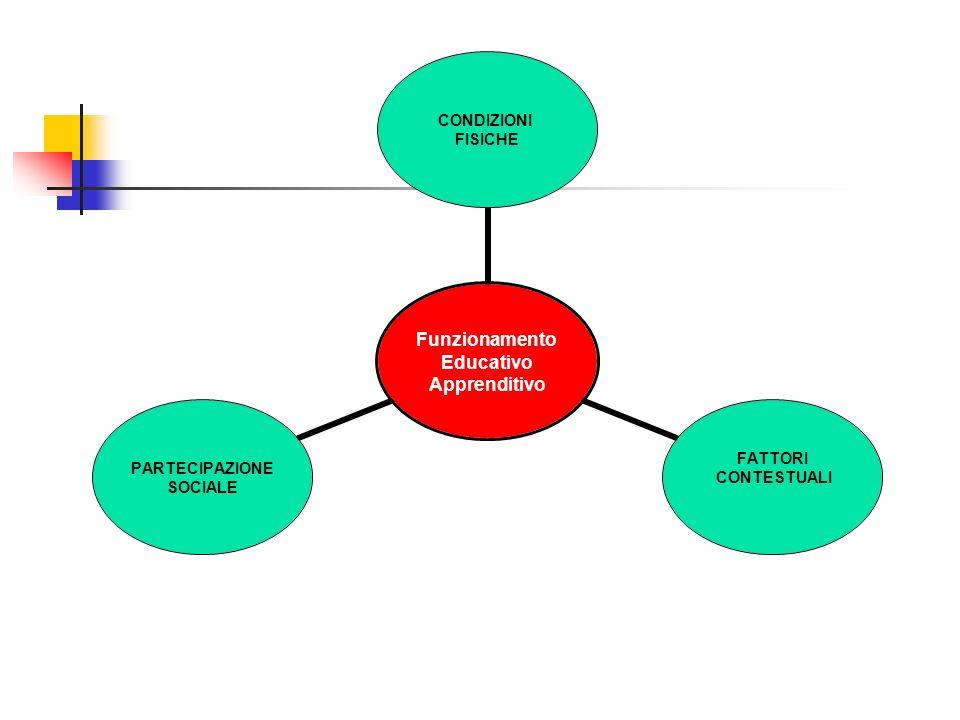 Funzionamento Educativo Apprenditivo CONDIZIONI FISICHE FATTORI CONTESTUALI PARTECIPAZIONE SOCIALE
