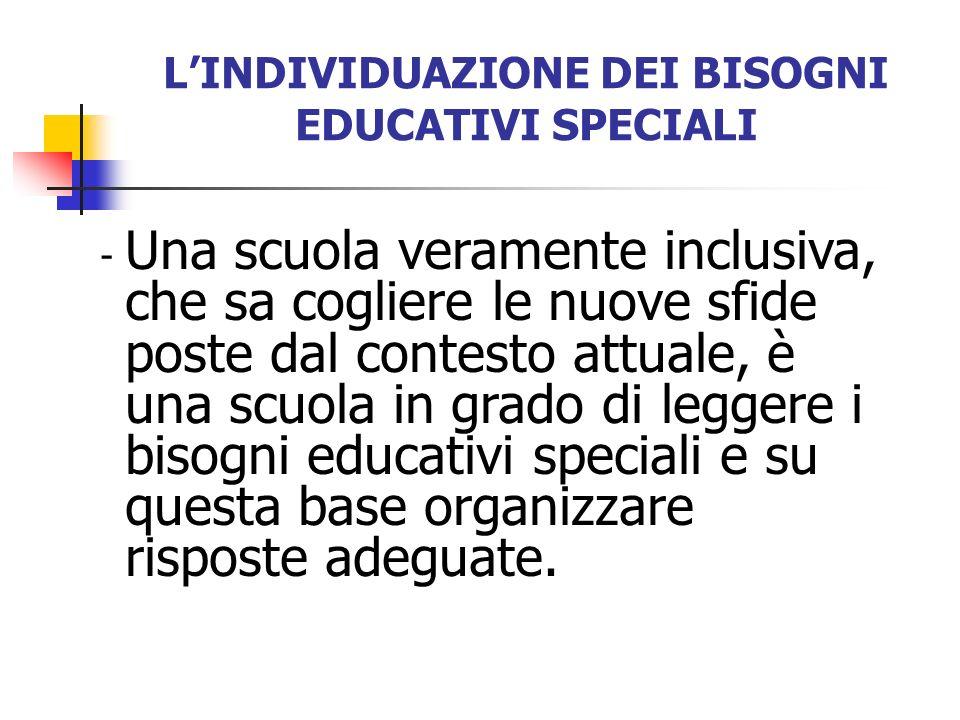LINDIVIDUAZIONE DEI BISOGNI EDUCATIVI SPECIALI - Una scuola veramente inclusiva, che sa cogliere le nuove sfide poste dal contesto attuale, è una scuo