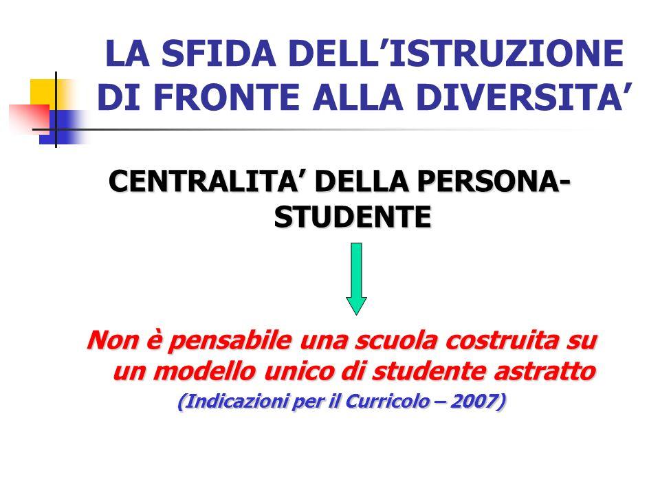 LA SFIDA DELLISTRUZIONE DI FRONTE ALLA DIVERSITA CENTRALITA DELLA PERSONA- STUDENTE Non è pensabile una scuola costruita su un modello unico di studen