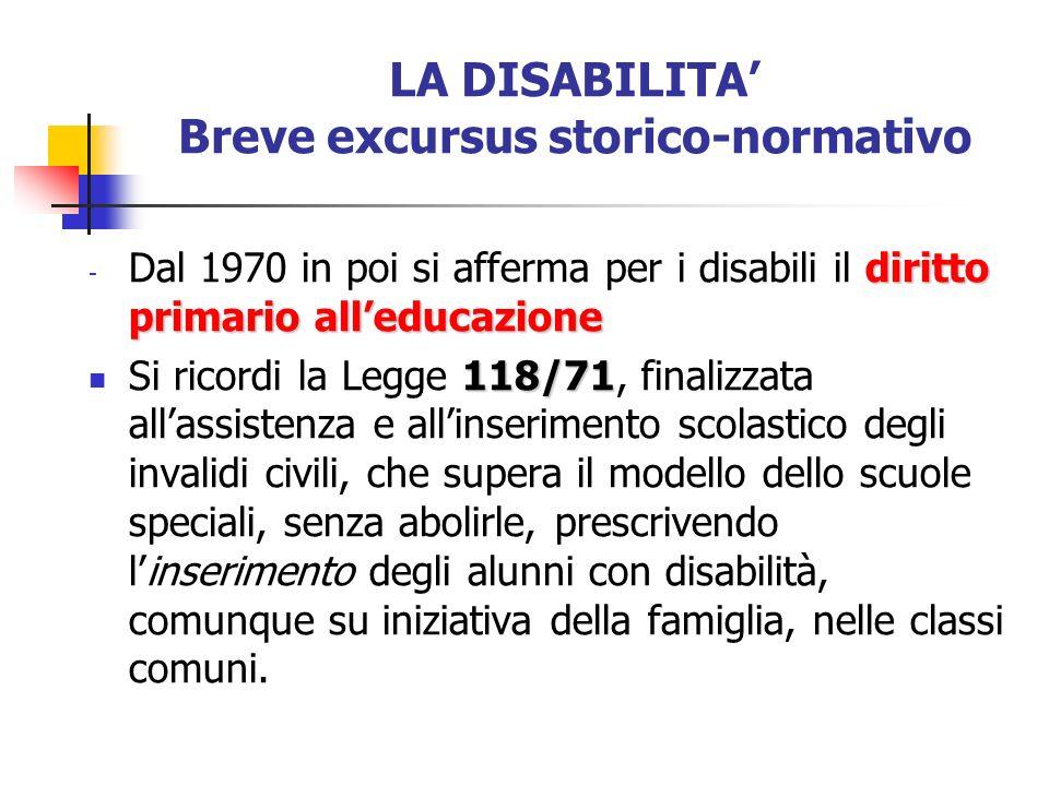 LA DISABILITA Breve excursus storico-normativo diritto primario alleducazione - Dal 1970 in poi si afferma per i disabili il diritto primario alleduca