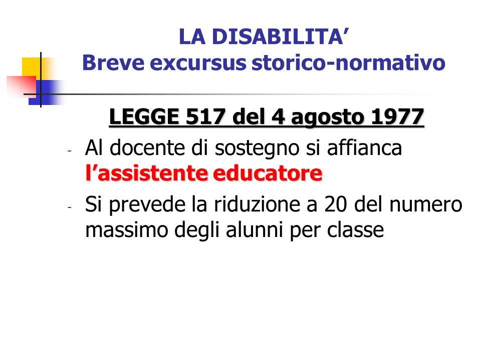 LA DISABILITA Breve excursus storico-normativo LEGGE 517 del 4 agosto 1977 lassistente educatore - Al docente di sostegno si affianca lassistente educ