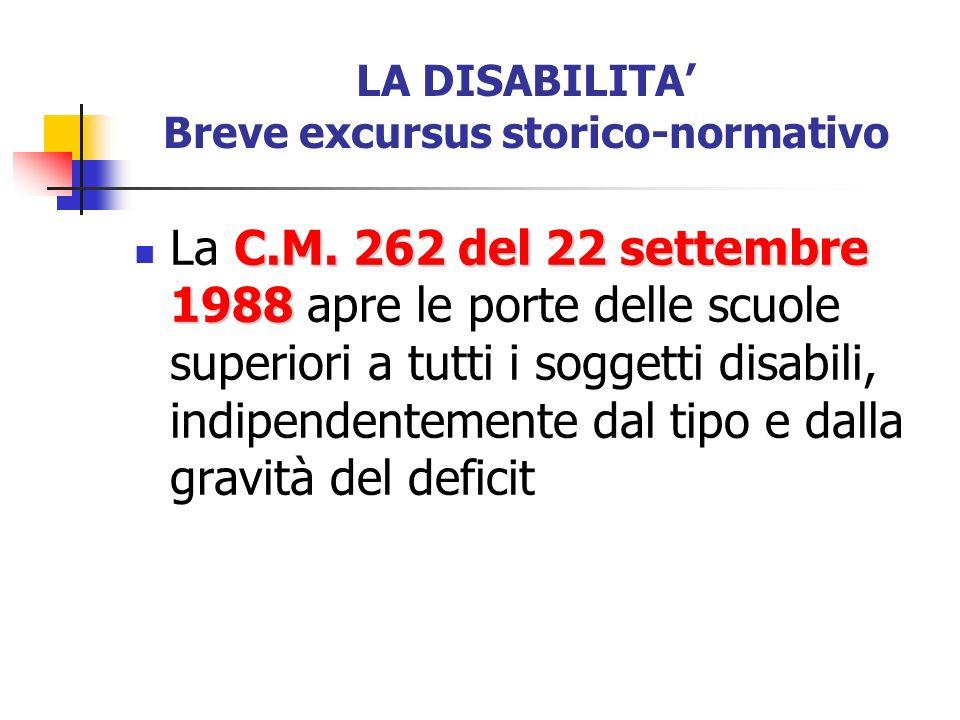 LA DISABILITA Breve excursus storico-normativo C.M. 262 del 22 settembre 1988 La C.M. 262 del 22 settembre 1988 apre le porte delle scuole superiori a
