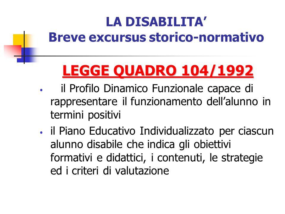 LA DISABILITA Breve excursus storico-normativo LEGGE QUADRO 104/1992 il Profilo Dinamico Funzionale capace di rappresentare il funzionamento dellalunn