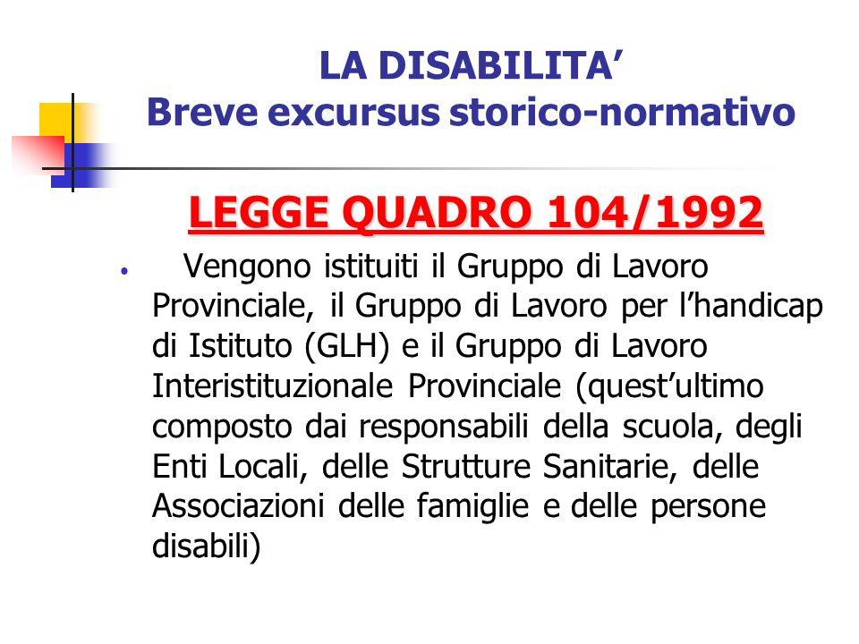 LA DISABILITA Breve excursus storico-normativo LEGGE QUADRO 104/1992 Vengono istituiti il Gruppo di Lavoro Provinciale, il Gruppo di Lavoro per lhandi