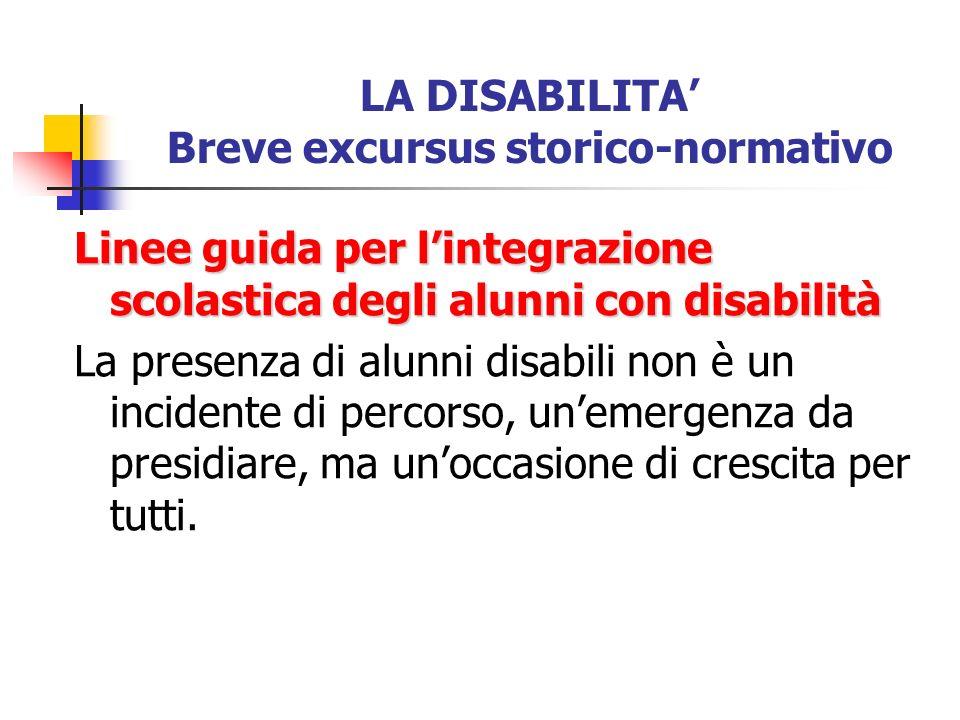 LA DISABILITA Breve excursus storico-normativo Linee guida per lintegrazione scolastica degli alunni con disabilità La presenza di alunni disabili non