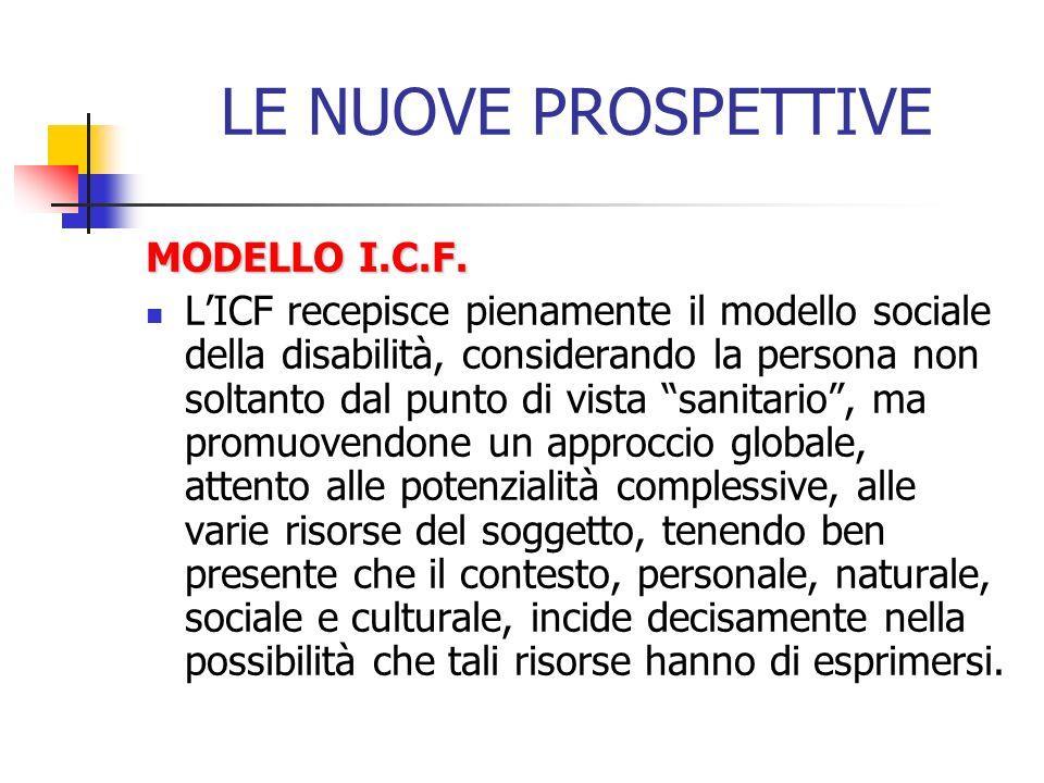 LE NUOVE PROSPETTIVE MODELLO I.C.F. LICF recepisce pienamente il modello sociale della disabilità, considerando la persona non soltanto dal punto di v