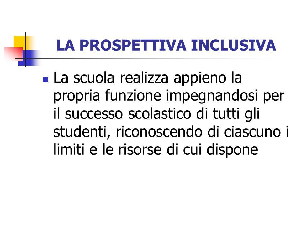 LA PROSPETTIVA INCLUSIVA La scuola realizza appieno la propria funzione impegnandosi per il successo scolastico di tutti gli studenti, riconoscendo di