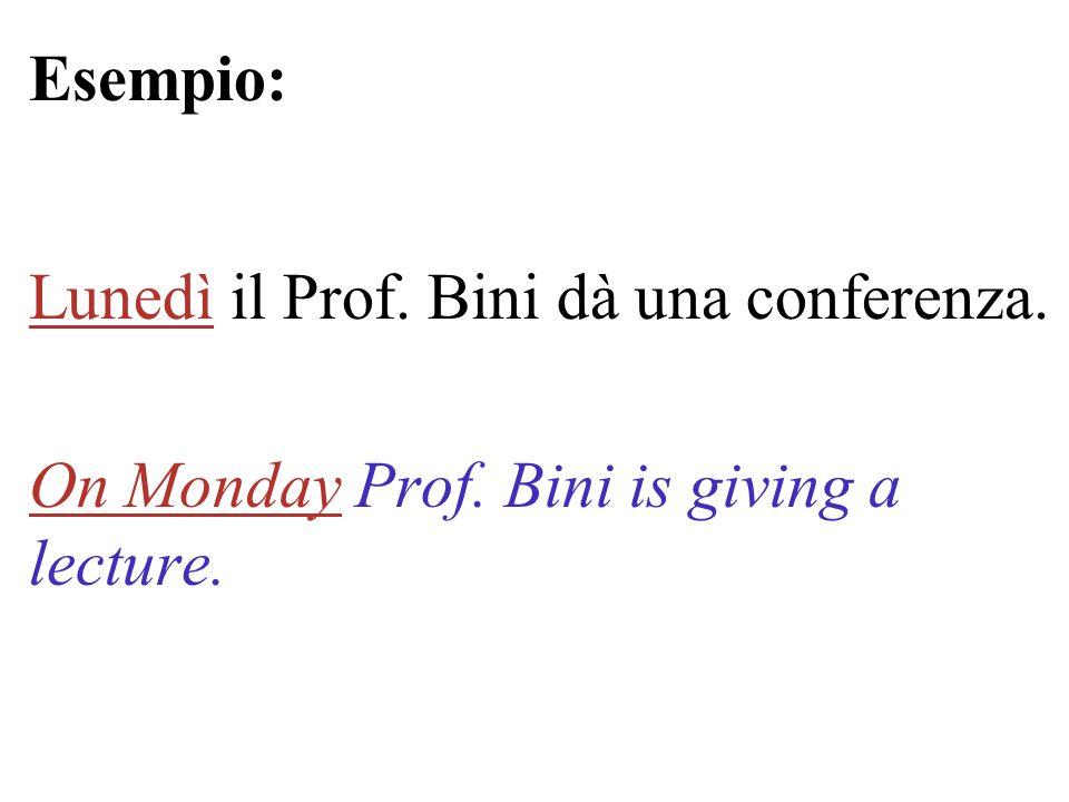 Esempio: Lunedì il Prof. Bini dà una conferenza. On Monday Prof. Bini is giving a lecture.