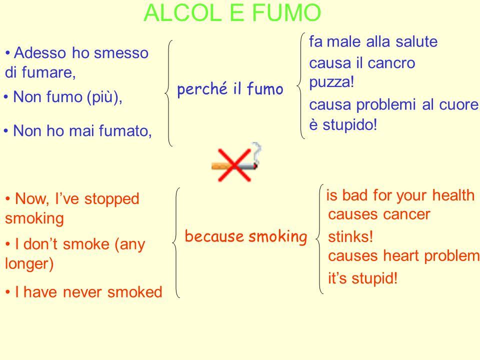 ALCOL E FUMO Now, Ive stopped smoking Adesso ho smesso di fumare, Non fumo (più), fa male alla salute perché il fumo causa il cancro puzza! causa prob