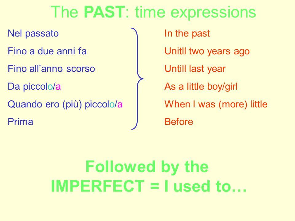 Nel passato Fino a due anni fa Fino allanno scorso Da piccolo/a Quando ero (più) piccolo/a Prima In the past Unitll two years ago Untill last year As