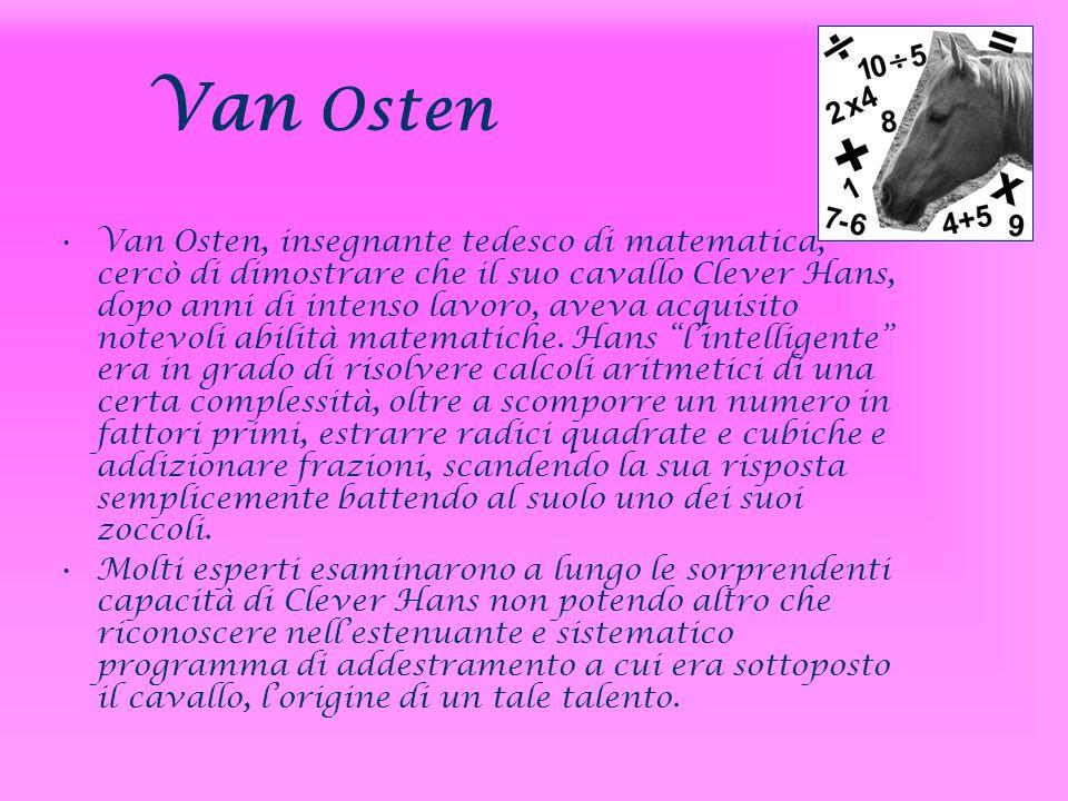 Van Osten Van Osten, insegnante tedesco di matematica, cercò di dimostrare che il suo cavallo Clever Hans, dopo anni di intenso lavoro, aveva acquisit