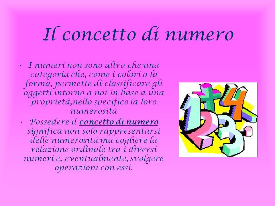 Il concetto di numero I numeri non sono altro che una categoria che, come i colori o la forma, permette di classificare gli oggetti intorno a noi in b