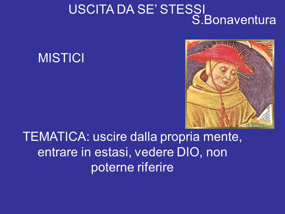 USCITA DA SE STESSI MISTICI S.Bonaventura TEMATICA: uscire dalla propria mente, entrare in estasi, vedere DIO, non poterne riferire