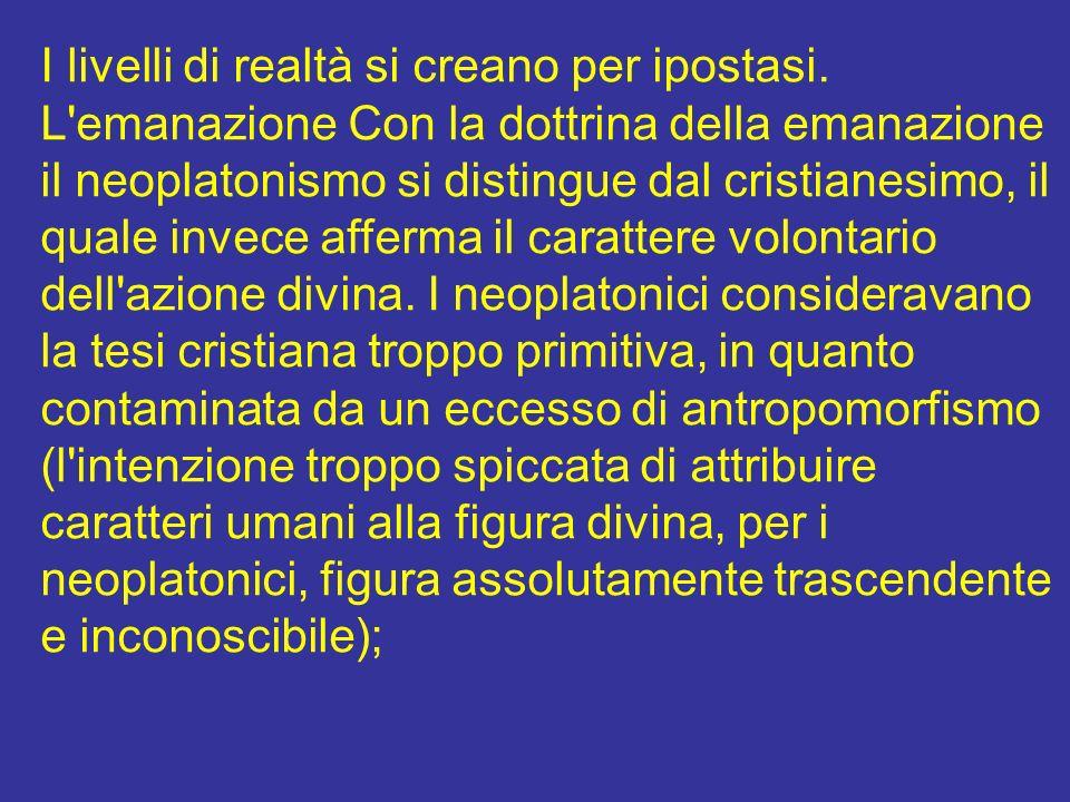 I livelli di realtà si creano per ipostasi. L'emanazione Con la dottrina della emanazione il neoplatonismo si distingue dal cristianesimo, il quale in