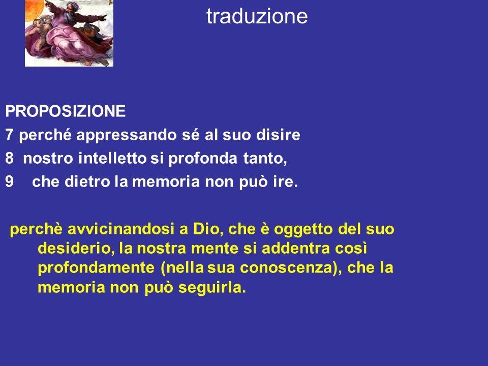 traduzione PROPOSIZIONE 7 perché appressando sé al suo disire 8 nostro intelletto si profonda tanto, 9 che dietro la memoria non può ire. perchè avvic