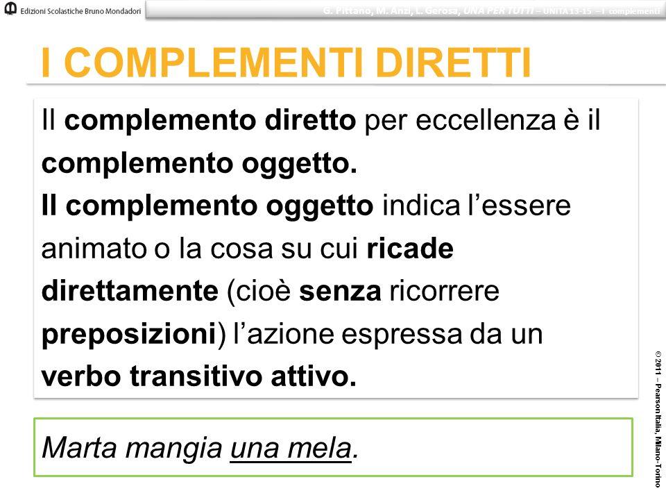 © 2011 – Pearson Italia, Milano-Torino I COMPLEMENTI DIRETTI Il complemento diretto per eccellenza è il complemento oggetto. Il complemento oggetto in