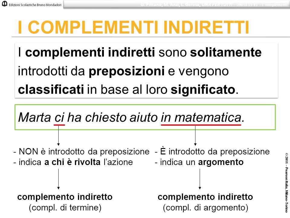 © 2011 – Pearson Italia, Milano-Torino I COMPLEMENTI INDIRETTI I complementi indiretti sono solitamente introdotti da preposizioni e vengono classific