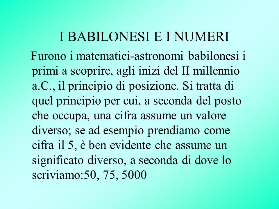 I BABILONESI E I NUMERI Furono i matematici-astronomi babilonesi i primi a scoprire, agli inizi del II millennio a.C., il principio di posizione. Si t