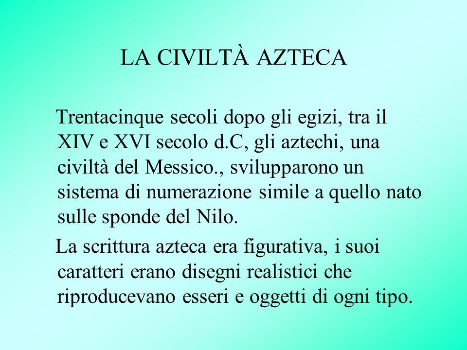 LA CIVILTÀ AZTECA Trentacinque secoli dopo gli egizi, tra il XIV e XVI secolo d.C, gli aztechi, una civiltà del Messico., svilupparono un sistema di n