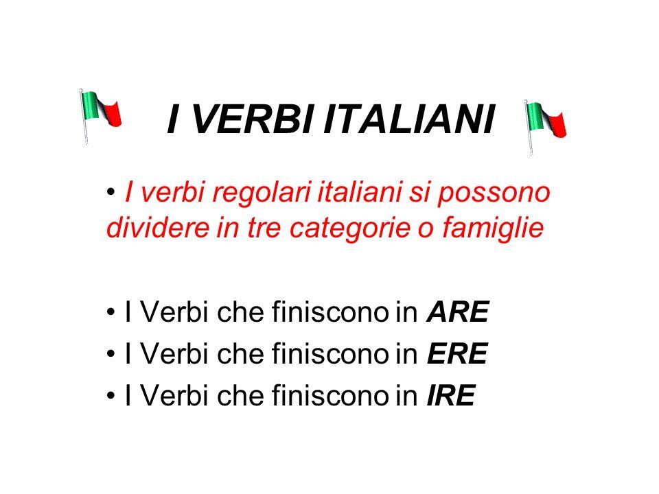 I VERBI ITALIANI I verbi regolari italiani si possono dividere in tre categorie o famiglie I Verbi che finiscono in ARE I Verbi che finiscono in ERE I