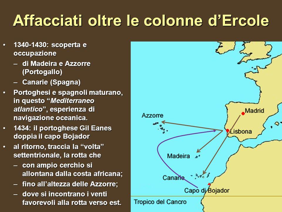 Affacciati oltre le colonne dErcole 1340-1430: scoperta e occupazione1340-1430: scoperta e occupazione –di Madeira e Azzorre (Portogallo) –Canarie (Sp
