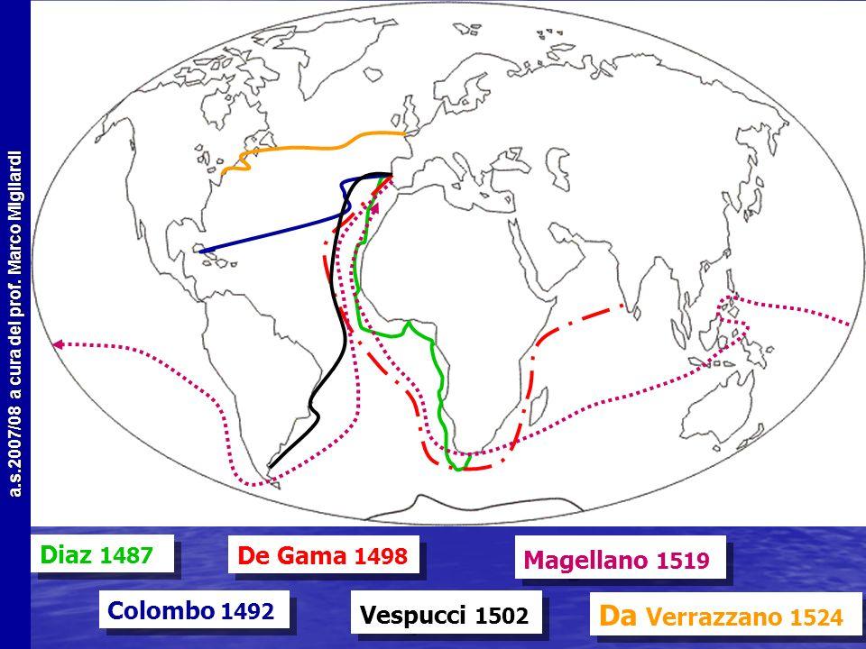 a.s.2007/08 a cura del prof. Marco Migliardi I primi esploratori La seconda metà del XV secolo vede i primi viaggi oceanici La seconda metà del XV sec