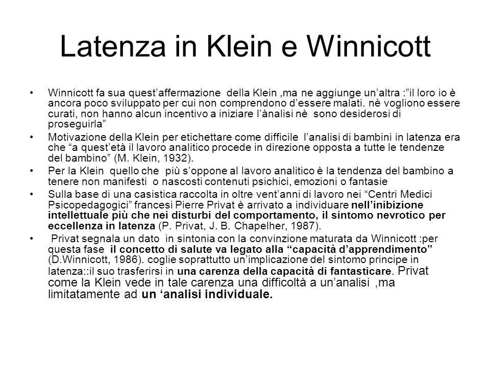 Latenza in Klein e Winnicott Winnicott fa sua questaffermazione della Klein,ma ne aggiunge unaltra :il loro io è ancora poco sviluppato per cui non co